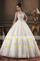 2013 new arrival wedding dress bride spaghetti strap racerback wedding princess lace wedding dress