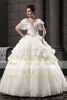 2013 new arrival wedding dress puff sleeve bride wedding dress cake racerback V-neck luxury wedding