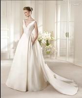 2013 V-neck bride wedding simple elegant racerback wedding bow short trailing button