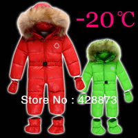 Newborn baby Infant one piece down coat baby romper open file thickening down coat 0 - 1 - 2 years red green yellow large fur