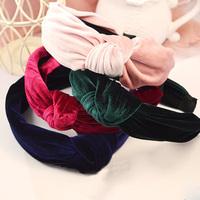 Wholesale 12pcs/lot  Fashion Women's Velvet  Bow  Covered Headbands Assorted Colors Hairband for Ladies's Festival Hairware