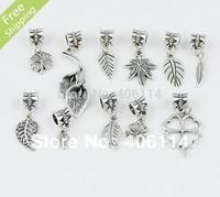 110pcs Mix Tibetan Silver Leaves Feather Pendants Beads Fit European Charm Bracelet DIY 11 styles