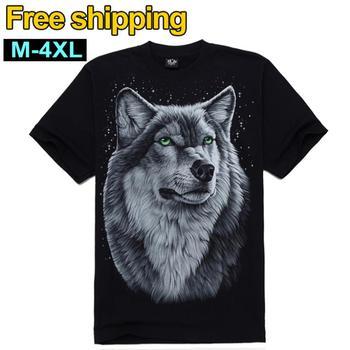 Free Shipping Fashion 2014 Brand Men's Top T-shirts men O Neck T shirt 3D Print Wolf Short Sleeve Cotton Tees M-4XL Big Size