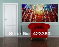 Free shipping!Huge 100% hand painted  Birch Art palette knife textured oil painting on canvas wall art canvas
