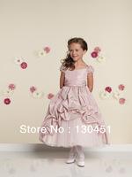 a-line satin ruffle evening dress for girls floor length pleated short sleeve girls bridesmaid dress