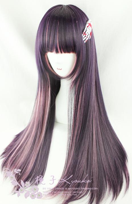 Ash Brown Pink Hair purple pink straight wig