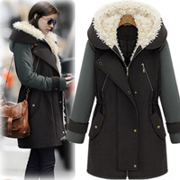 2013 winter fashion slim cotton-padded jacket overcoat thickening hooded long trench design wadded jacket outerwear cc102 female