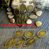 Free Shipping  20pcs Wholesale Antique Bronze Zinc Alloy Vintage Bookmarks with inner 18-20-18*25mm Cabochons Tray