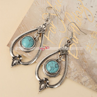 20pcs/lot Water Drop Round Turquoise Design Drop Earrings Christmas Gift Free Shipping S00456