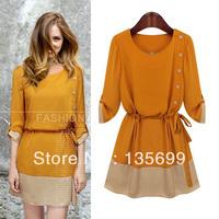 Free Shipping Vogue of new fund of 2013 autumn wear women's temperament chiffon long sleeve dress in silk
