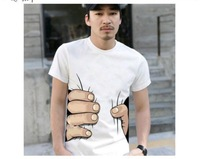 3 colors big Hand t shirt!Man men clothes Printing Hot 3D visual creative personality spoof grab your cotton T-shirt shirt