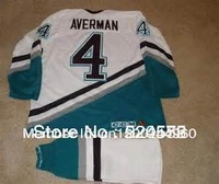 Ice Hockey Mighty Ducks Les Averman #4 Anaheim Jerseys White/Green 1996-06 - Customized Any Name And Number Swen On (S-4XL)