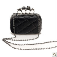 Ring Bag Clutch Purse Handbag Women  Skulls Knuckle Black Duster Clutch/Evening Bag PU Leather bucket handbag