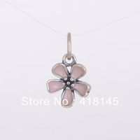 925 Sterling Silver Cherry Blossom Pendant with Pink Enamel Fits For European Style Jewelry Charm Bracelets & Necklaces