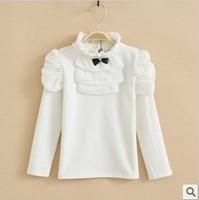 girls turtleneck white princess long sleeve beautiful cotton base t shirt kids girl fashion cute new arrival autumn fall tee