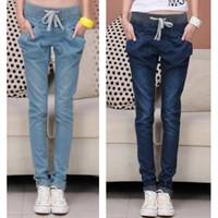 FS270  Fashion Elastic Roll up Hem Pocket Skinny Pants harem pants jeans