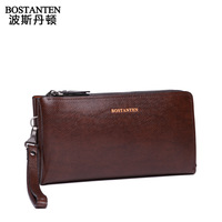 Free Shipping 2013 New Arrival Commercial Large Capacity Clutch Bag Cowhide Male  Day Clutch  Fashion Wallet With Double Zipper
