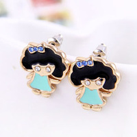 Mix order is $10 Free shipping Han edition  lovely cartoon with rhinestone bow girl studs earrings  wholesale