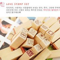 (Mini order $5)25pcs Wooden Box 1set Love Diary Stamp Set Symbol Toy Rubber Stamps Decorative DIY Wood Signet stamp