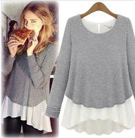 2013 women's long-sleeve chiffon shirt faux two piece knitted basic shirt fashion street autumn top