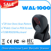 3D Scanner WAL-1000 Omni-directional 1D Laser Barcode  bar code Reader Scanner USB Port barcode scanner with table PC& android