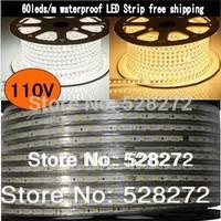 100m 110V 5050 SMD flexible RGB LED Strip light, 60LEDs/m cold white/warm white led tape waterproof IP67