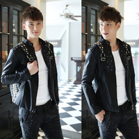 Free shipping / the autumn of 2013 the new men's fashion boutique leather coat of cultivate one's morality  / leather jacket