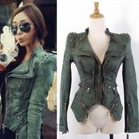 Women's fashoin jeans,ladies stylish jackets,lady jean,New fashion star jeans women punk spike Mosaic shrugged denim jacket coat