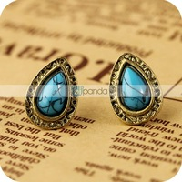 Wholesale welry oe0256 retro blue turquoise drop earrings 4g