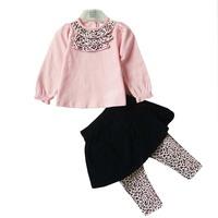 Children's clothing 2013 autumn set baby clothes leopard print set top culottes