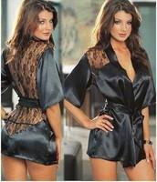 Fashion Black Satin Black Sexy Lingerie Costume Pajamas Underwear Sleepwear Robe and G-String Free Shopping Free Size