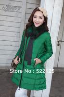 Hot Sale 2013 Faux fur lining women's winter warm long duck down coat jacket clothes wholesale Free Shipping