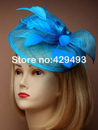 Free Shipping HOT sinamay fascinator in SPECIAL shape with feathers, TOP grade workmanship,Teal(turquoise)Color(China (Mainland))