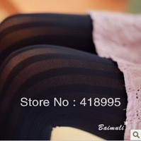 Big Sale Free Shipping 2013 Women's 100% Velvet Stretch Pantyhose Sexy Candy Color Vertical Stripes Slim Tight For Woman 8 Color