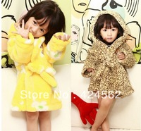 2013 free shipping kids pajamas robes Children's robe coral fleece kids robes baby sleepwear pajamas robes bathrobe 2 colors