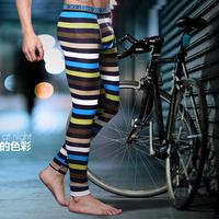 Men's Neon Stripe Body Shaping Tights Cotton Male Long Johns Male Warm Pants Leggings