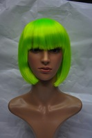 green cosplay women wigs short curly Brown color  bob lady hair wigs synthetic qi bang Free Shipping