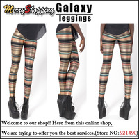 Free shipping Wholesale 2013 New Women Fashion Novelty Stripe Leggings MIlk Leggings Fashion fitness Galaxy Leggings Plus Size