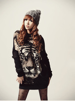 2013 New Arrival Autumn Casual Style Scoop Neck Tiger Printed Batwing Sleeve Knitting Cardigans For Women Fashion Sweater Dress