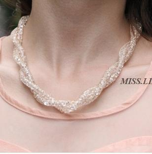 factory wholesale  Korean  Necklace female short clavicle exaggerated Europe retro crystal knitting jadoku chain dress ornaments