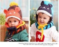 new arrival hot sale free shipping boys girls kids weaven acrylic winter scarf +hat winter warm kids brand