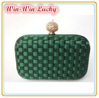 Fashion Alloy Buckle Woven Plaid Women Day Clutch. Silk Rhinestone Lady Handbags Messenger Evening Bag Multicolor Free Shipping