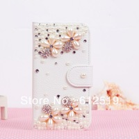 3D Luxury Handmade Bling Diamond  Flower Leather Flip Case For Samsung Galaxy S3 I9300