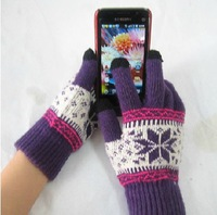 G1free shipping12 pair/lot mix colour Touch screen gloves fashion winter gloves cotton gloves