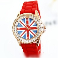 2013 WoMaGe Watch fashion silicone quartz watch dress watches rose gold dress watches British/UK flag free shipping