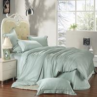 Home textile bedding set piece tencel solid color silk brief bed sheets pillow case duvet cover bedding