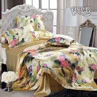 Double faced silk silkworm silk 4 piece bedding set mulberry silk rustic flower peony