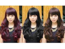 Fluffy muchachas de las mujeres de largo ondulado rizado con flecos de pelo pelucas llenas moda 4 colores(China (Mainland))