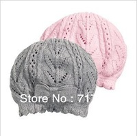 Free shipping 1pc retail! 4M-2T Knitted cap gray pink color 55% cotton bow-knot princess hat 44cm-52cm head circle free size