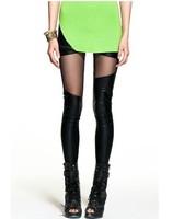 2014 Women Fashion Pu Black Leather Patchwork Lace Legging Sexy legging